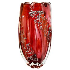 Large ARCHIMEDE SEGUSO Twisted Ribbed Vase- Murano- Mid-Century-Modern