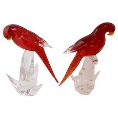 FORMIA Pair Of Red Lory Sculptures- Murano-Mid Century-Modern