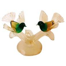 A. BARBINI Sculpture-Exotic Birds -Murano-Mid Century-Modern