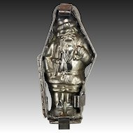 Vintage Cast Metal Santa Chocolate Mold ca1920