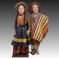 "Large 28"" Early Pair of Antique Felt Dolls ca1915"