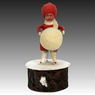 Antique German Heubach Bisque Head Cotton Batting Christmas Candy Container ca1910