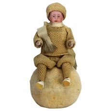 Antique German Heubach Rare Christmas Double Candy Container Child on Snowball ca1910
