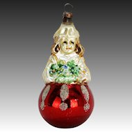 Antique German Blown Glass Girl with Flowers Christmas Ornament ca1920