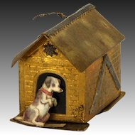 Antique Rare German Dresden Christmas Ornament Dog House Candy Container ca1910