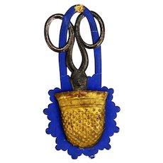 Antique Rare Dresden Scissors and Thimble Christmas Ornament ca1910