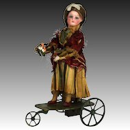 Antique French FG Mechanical Wind Up Automation Bisque Head Doll on Tricycle ca1900