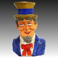 Antique German Uncle Sam Paper Mache Candy Container ca1910