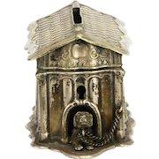 Antique Metal Dog House Bank ca1910