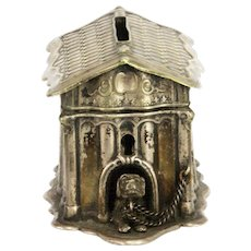 Antique Metal Dog House Bank ca1910