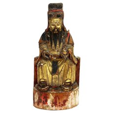 Antique Early Painted Carved Wood Chinese Confucius Figure ca1850