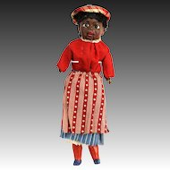 Antique German Paper Mache Black Squeeze Doll ca1900