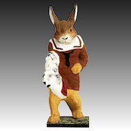 Antique German Easter Bunny on Hobby Horse Candy Container ca1910