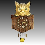 Vintage Lux Cat Over Fence Pendulette Clock ca1935