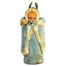 Antique German Cotton Batting Easter Bunny Girl Candy Container ca1910