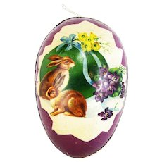 Antique German Easter Egg Candy Container with Bunnies ca1910