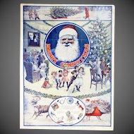 Antique Santa Christmas Advertising Poster WT Riggs Michigan