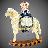 Antique German Wind Up Rocking Lamb with Bisque Head Rider ca1910