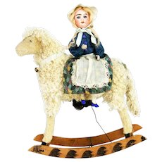 Antique German Wind Up Rocking Lamb with Bisque Head Rider ca1910