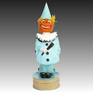 Antique German Halloween Pumpkin Head Clown Double Nodder Candy Container ca1910