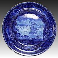 Antique English Blue Historic China Plate Wood & Sons Burslem View of Liverpool