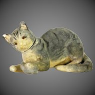 Antique German Paper Mache Cat and Mouse Candy Container ca1910