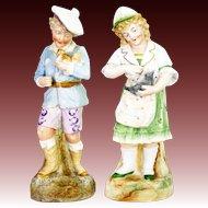 Antique German Heubach Boy and Girl Figurines ca1910