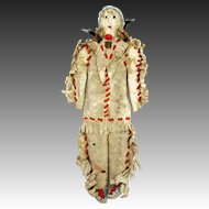 Antique Beaded Leather Native American Indian Doll ca1890