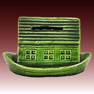 Antique Glazed Ceramic Noah's Ark Bank ca1910