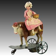 Antique French Bisque Milk Maid and Cow Wind Up Mechanical Toy ca1900