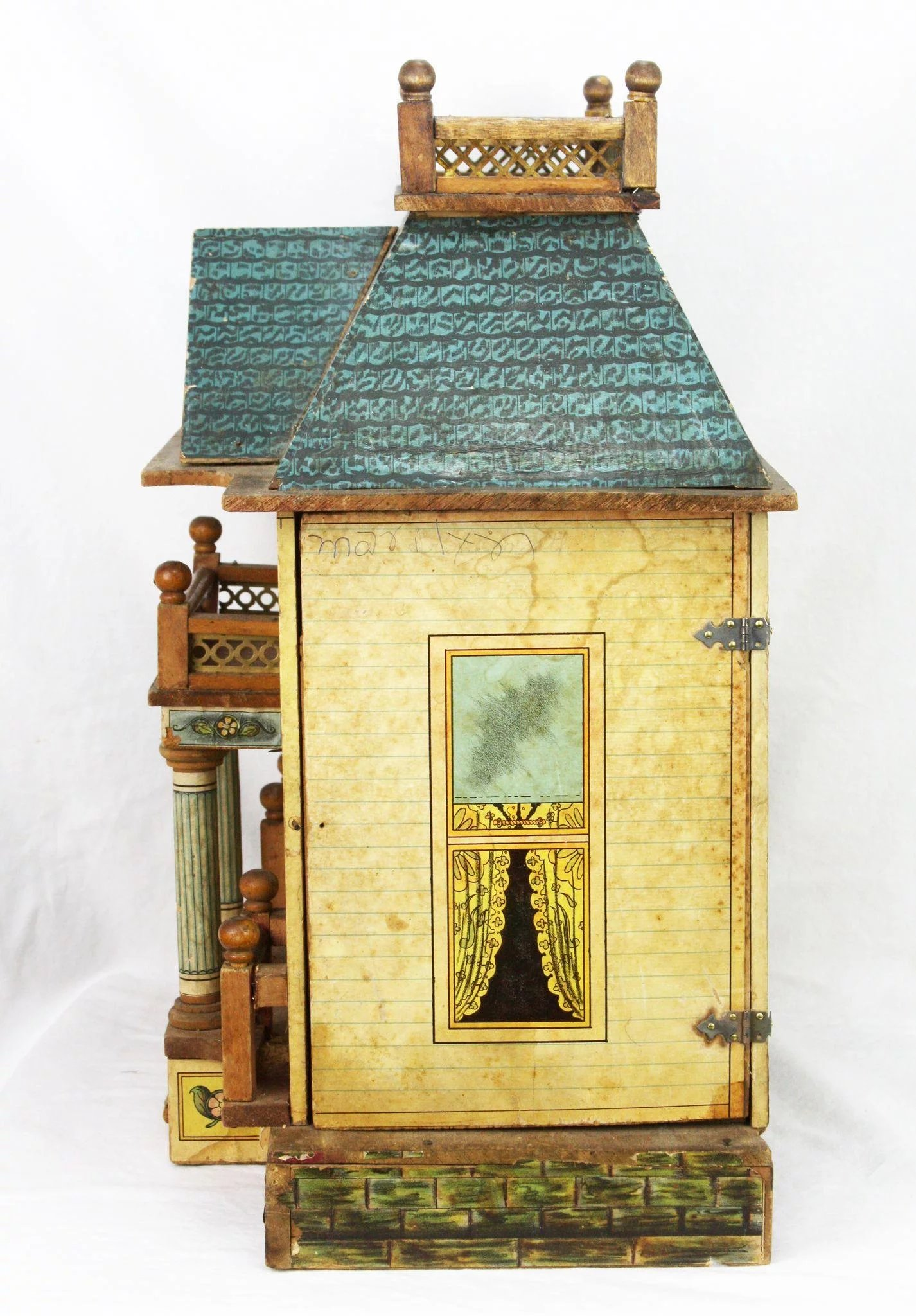 Antique Rare Bliss Colonial Paper Lithographed Doll House