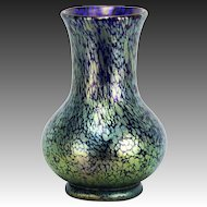Antique Loetz Cobalt and Green Iridescent Oil Spot Art Glass Vase ca1910