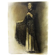 Antique Charcoal Sketch Drawing Carl Nordstrom ca1914