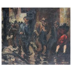 """Vintage Painting """"On The Bowery"""" by Artist Charles Carlson ca1934"""