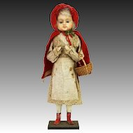 Antique German Paper Mache Red Riding Hood Candy Container ca1900