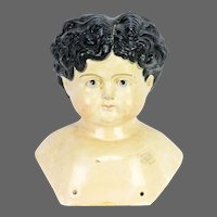 Antique German Large Paper Mache Doll Shoulder Head ca1880