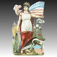 Antique Victorian German Huge Patriotic Die Cut ca1860