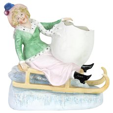 Antique German Bisque Winter Figure on Sled ca1900
