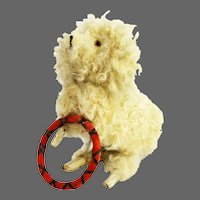 Antique German Wind Up Hopping Dog with Trick Hoop ca1910