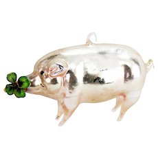 Antique German Blown Glass Extended Leg Pig Christmas Ornament ca1910
