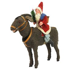Antique German Santa on Donkey Nodder Pull Toy ca1910