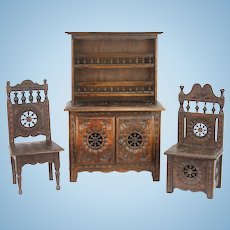 Antique Miniature French Brittany Doll Cabinet, Chair, Potty Chair ca1910