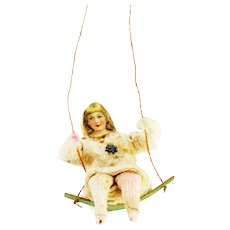 Antique German Girl on Swing Cotton Batting Christmas Ornament ca1910