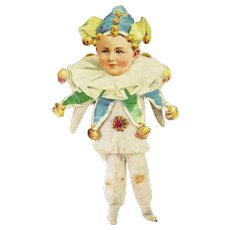 Antique German Cotton Batting Jester Clown Christmas Ornament ca1910