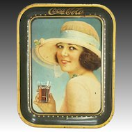 Antique Coca Cola Tin Metal Tray Woman in Hat
