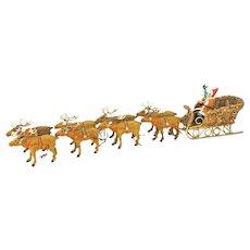 Antique German Santa on Loofah Sleigh with Eight Reindeer ca1910
