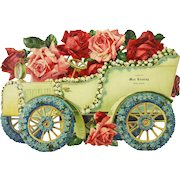 Antique Die Cut Advertising Sign Salida Colorado Rose Flower Car