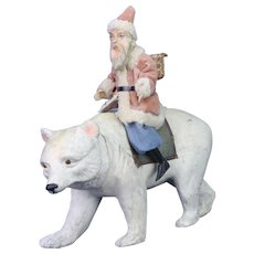 Antique German Paper Mache Santa on Polar Bear Candy Container ca1910