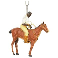 Antique Rare German Dresden Black African Jockey on Horse Christmas Ornament ca1910