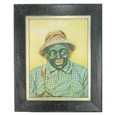 Antique Rare Framed Wind Up Clockwork Automation African Black Man ca1900